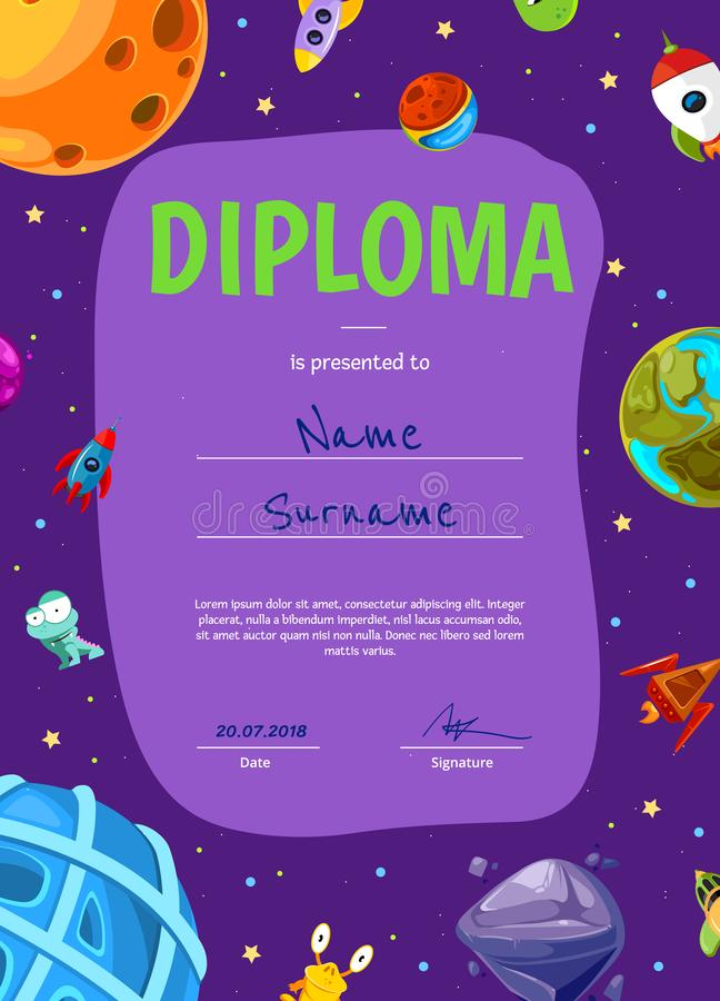 Διανυσματικό δίπλωμα παιδιών ή πρότυπο πιστοποιητικών με τους διαστημικούς πλανήτες και τα σκάφη κινούμενων σχεδίων ελεύθερη απεικόνιση δικαιώματος