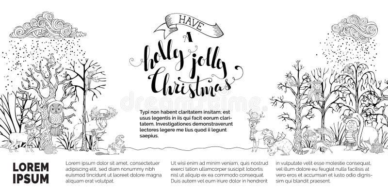 Διανυσματικό δασόβιο υπόβαθρο Χριστουγέννων ελεύθερη απεικόνιση δικαιώματος