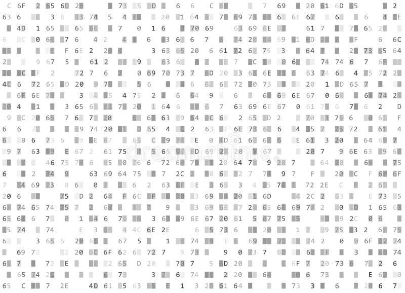 Διανυσματικό δεκαεξαδικό άσπρο άνευ ραφής υπόβαθρο κώδικα Μεγάλη χάραξη στοιχείων και προγραμματισμού, κρυπτογράφηση αποκρυπτογρά διανυσματική απεικόνιση