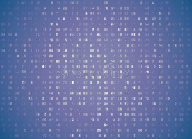 Διανυσματικό δεκαεξαδικό χλωμό ιώδες αναδρομικό υπόβαθρο κώδικα Μεγάλος χαράσσοντας στοιχείων και προγραμματισμού, βαθιές αποκρυπ διανυσματική απεικόνιση