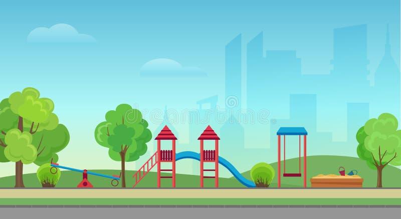 Διανυσματικό δημόσιο πάρκο πόλεων με την παιδική χαρά παιδιών στο σύγχρονο υπόβαθρο ουρανοξυστών πόλεων Πράσινο πάρκο στο κέντρο  διανυσματική απεικόνιση
