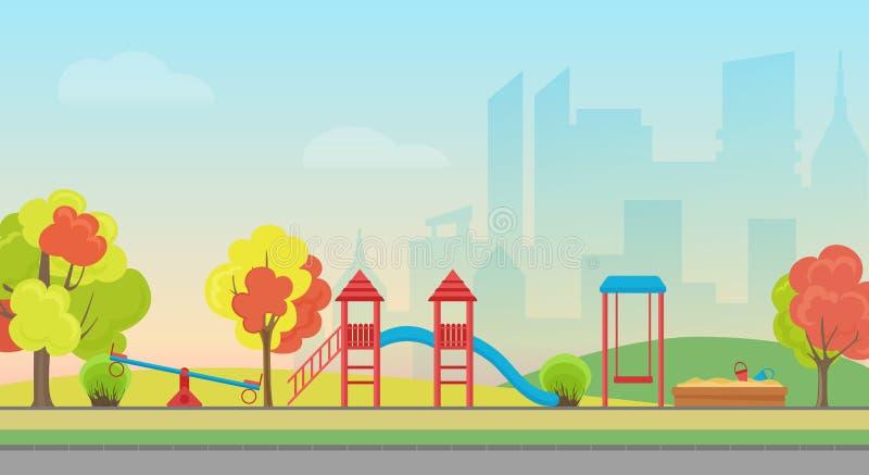 Διανυσματικό δημόσιο πάρκο πόλεων με την ψυχαγωγία παιδικών χαρών παιδιών στο σύγχρονο υπόβαθρο ουρανοξυστών πόλεων Δημόσια πόλη  ελεύθερη απεικόνιση δικαιώματος