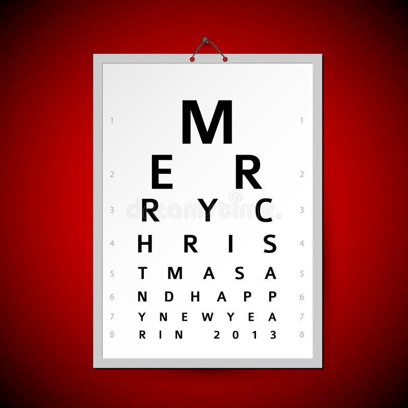Διανυσματικό διάγραμμα δοκιμής ματιών Χριστουγέννων ως κάρτα Χριστουγέννων διανυσματική απεικόνιση