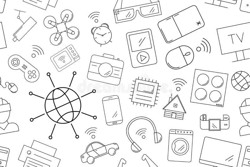 Διανυσματικό Διαδίκτυο σκέφτεται το σχέδιο Διαδίκτυο του άνευ ραφής υποβάθρου πραγμάτων διανυσματική απεικόνιση