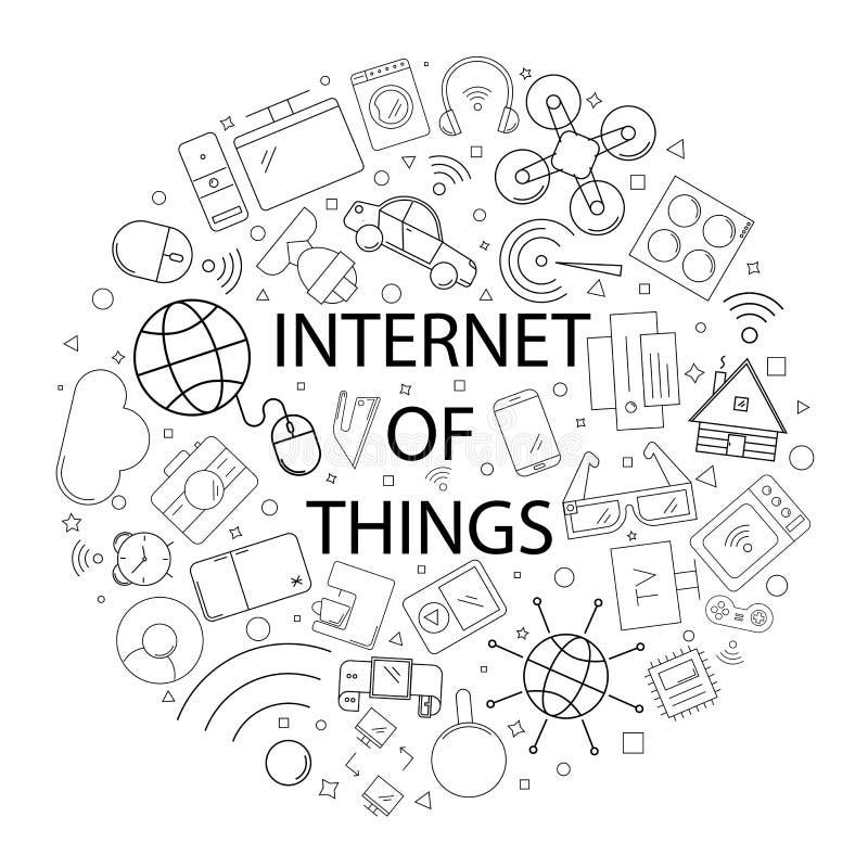 Διανυσματικό Διαδίκτυο του σχεδίου πραγμάτων με τη λέξη Διαδίκτυο του υποβάθρου πραγμάτων διανυσματική απεικόνιση