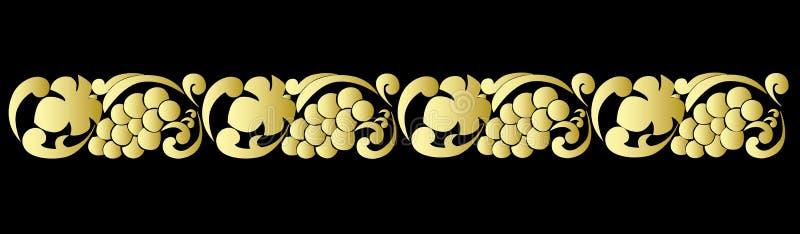 Διανυσματικό διακοσμητικό σχέδιο με τα χρυσά σταφύλια και τα φύλλα σταφυλιών στο μαύρο υπόβαθρο διανυσματική απεικόνιση