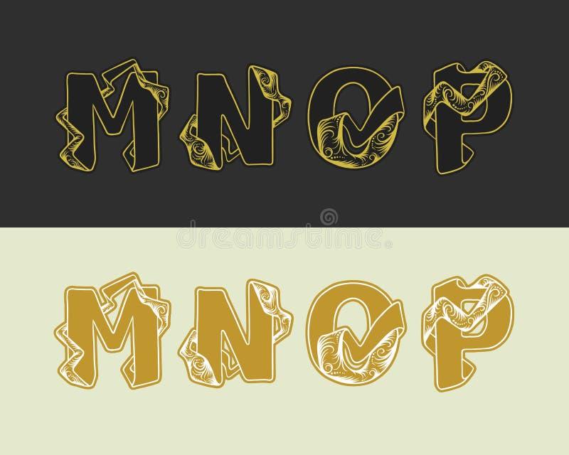 Διανυσματικό διακοσμητικό σύνολο αλφάβητου σκίτσων κεφαλαίων επιστολών Χρυσό κομψό γράμμα Μ, Ν, Ο, Π Πηγή των ενδασφαλίζοντας κορ διανυσματική απεικόνιση