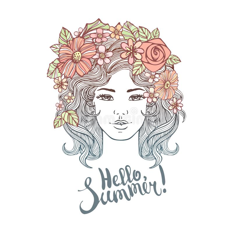 Διανυσματικό διακοσμητικό hairstyle κοριτσιών με τα λουλούδια, φύλλα στην τρίχα στο ύφος doodle Φύση, περίκομψη, floral απεικόνισ διανυσματική απεικόνιση