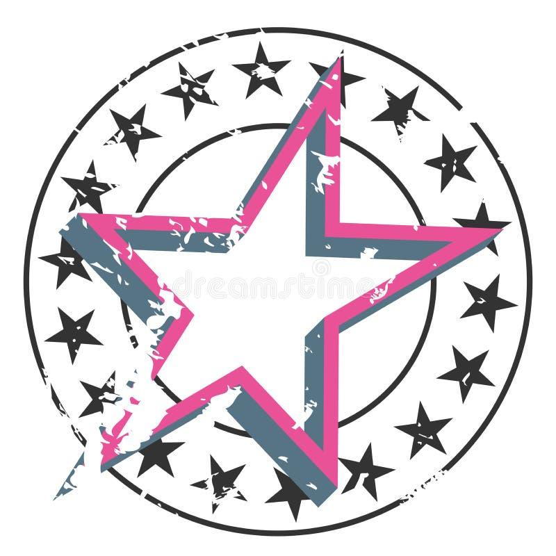 Διανυσματικό διακριτικό αστεριών grunge Στρογγυλό έμβλημα με τα μικρά αστέρια στα σύνορα κύκλων και το μεγάλο αστέρι στο κέντρο απεικόνιση αποθεμάτων