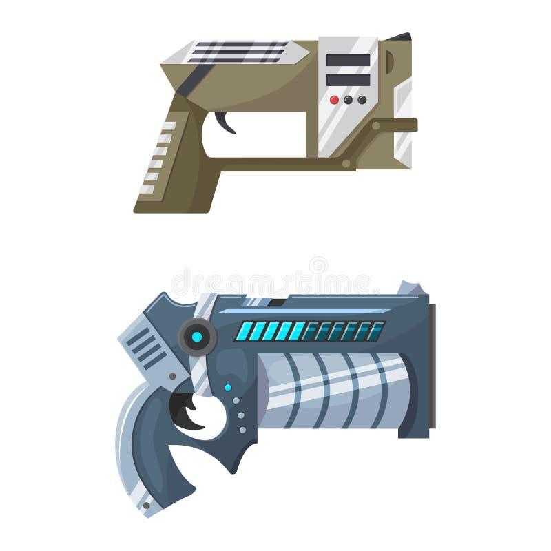Διανυσματικό διαστημικό πυροβόλο όπλο λέιζερ αμμοστρωτικών μηχανών πυροβόλων όπλων όπλων με το φουτουριστικό περίστροφο και το φα ελεύθερη απεικόνιση δικαιώματος