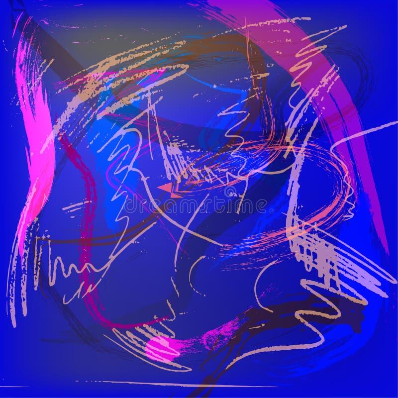 Διανυσματικό δροσερό φωτεινό πολύχρωμο αφηρημένο σχέδιο υποβάθρου με τα κτυπήματα και τους παφλασμούς βουρτσών στα μπλε, πορφυρά  ελεύθερη απεικόνιση δικαιώματος
