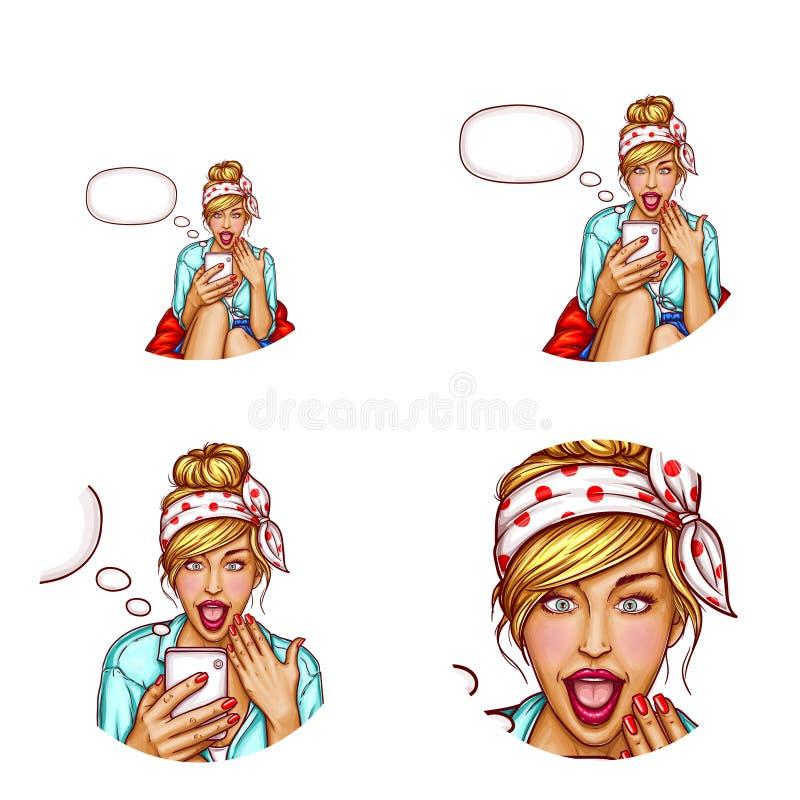Διανυσματικό είδωλο του έκπληκτου κοριτσιού με το smartphone διανυσματική απεικόνιση