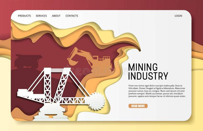 Διανυσματικό εγγράφου περικοπών πρότυπο ιστοχώρου σελίδων εξορυκτικής βιομηχανίας προσγειωμένος διανυσματική απεικόνιση