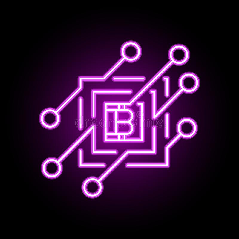 Διανυσματικό εικονίδιο έννοιας Blockchain ή στοιχείο σχεδίου στο ύφος νέου ελεύθερη απεικόνιση δικαιώματος