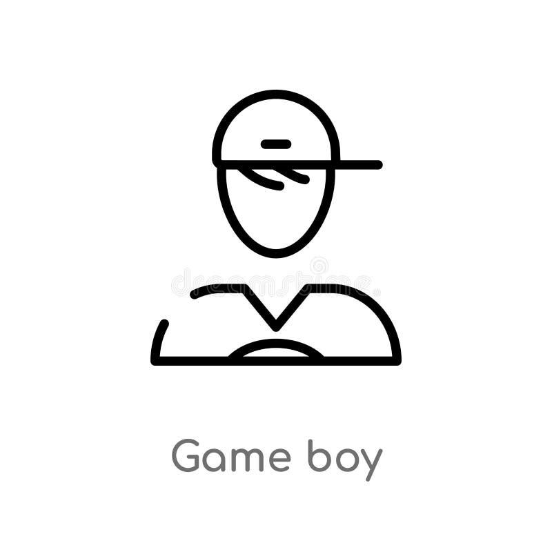 διανυσματικό εικονίδιο αγοριών παιχνιδιών περιλήψεων απομονωμένη μαύρη απλή απεικόνιση στοιχείων γραμμών από την έννοια χρηστών e ελεύθερη απεικόνιση δικαιώματος