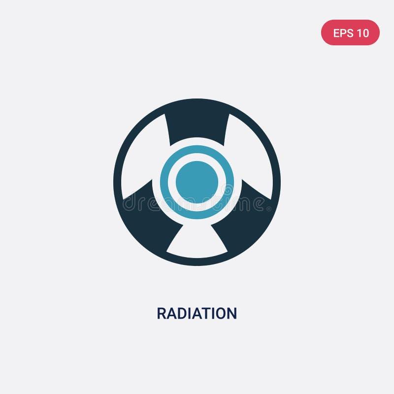 Διανυσματικό εικονίδιο ακτινοβολίας δύο χρώματος από την έννοια επιστήμης το απομονωμένο μπλε σύμβολο σημαδιών ακτινοβολίας διανυ διανυσματική απεικόνιση