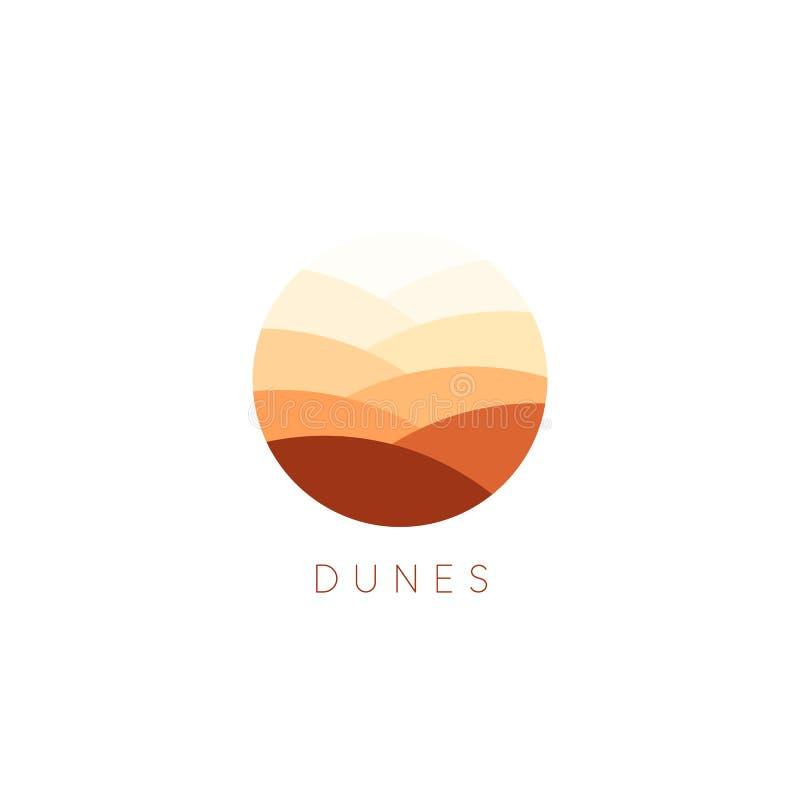 Διανυσματικό εικονίδιο αμμόλοφων άμμου Πρότυπο λογότυπων τοπίων ερήμων Αφηρημένο στρογγυλό επίπεδο ύφος logotype διανυσματική απεικόνιση