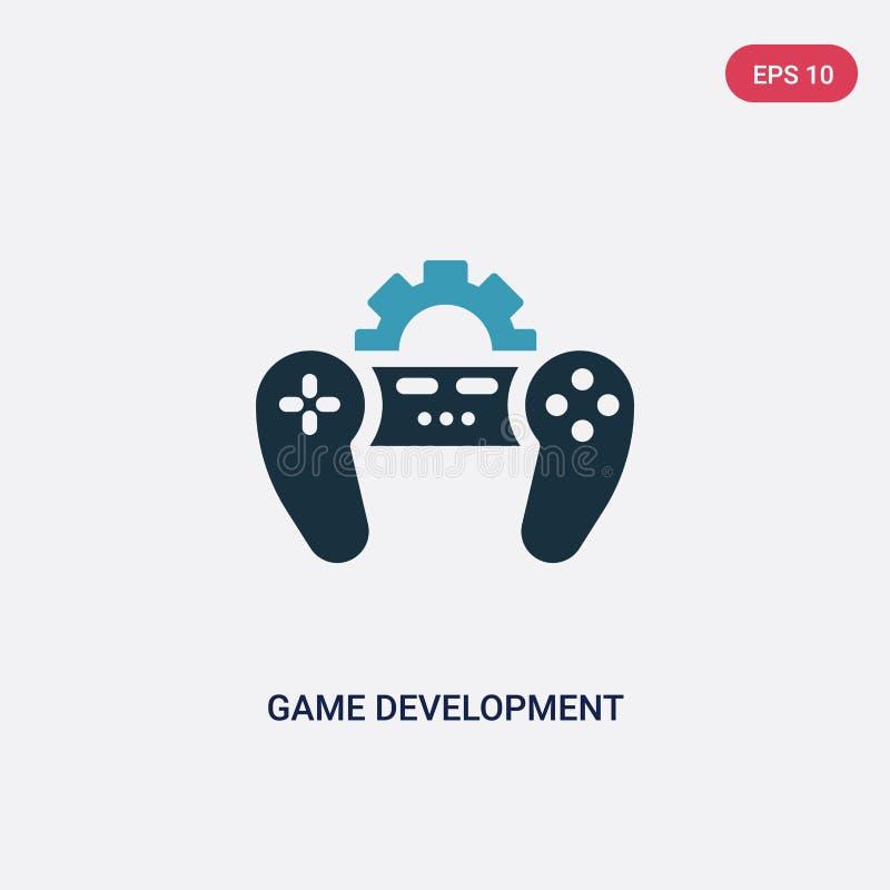 Διανυσματικό εικονίδιο ανάπτυξης παιχνιδιών δύο χρώματος από τον προγραμματισμό της έννοιας το απομονωμένο μπλε παιχνιδιών σύμβολ διανυσματική απεικόνιση