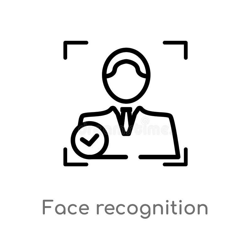 διανυσματικό εικονίδιο αναγνώρισης προσώπου περιλήψεων απομονωμένη μαύρη απλή απεικόνιση στοιχείων γραμμών από την τεχνητή έννοια διανυσματική απεικόνιση