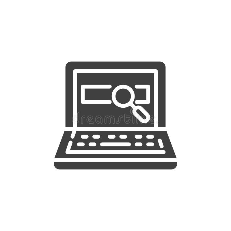 Διανυσματικό εικονίδιο αναζήτησης lap-top ελεύθερη απεικόνιση δικαιώματος