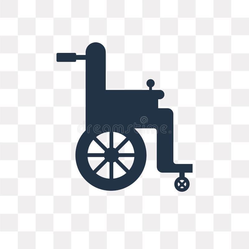 Διανυσματικό εικονίδιο αναπηρικών καρεκλών που απομονώνεται στο διαφανές υπόβαθρο, ρόδα απεικόνιση αποθεμάτων