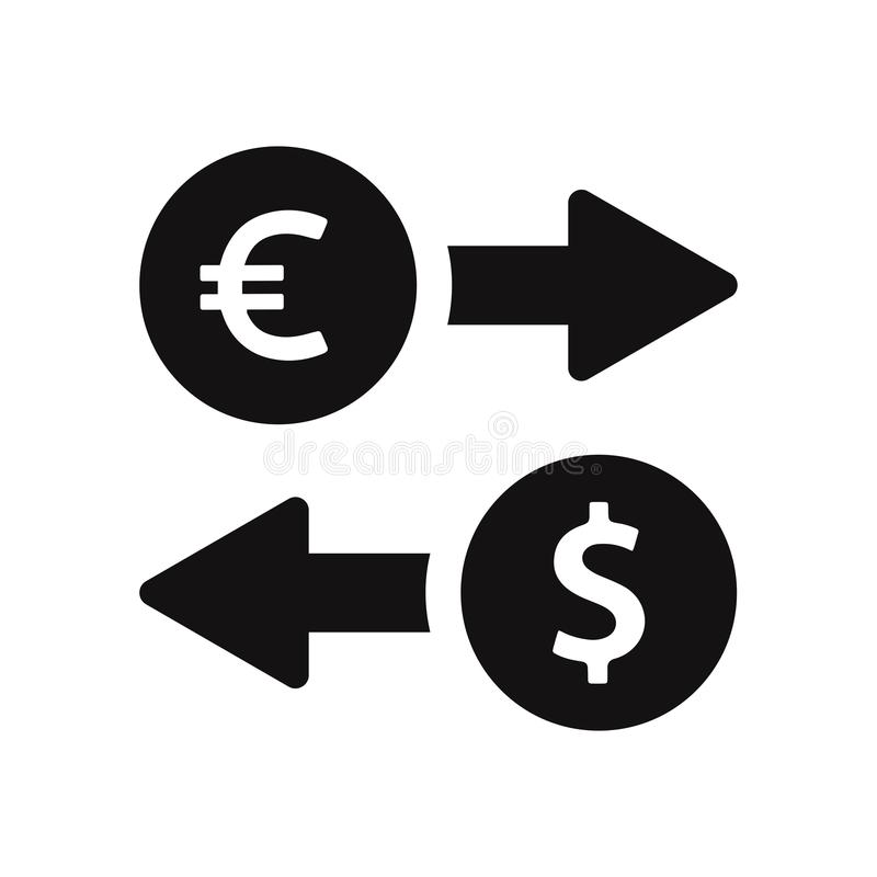 Διανυσματικό εικονίδιο ανταλλαγής ευρώ και δολαρίων Σημάδι στο καθιερώνον τη μόδα ύφος σχεδίου, διανυσματική απεικόνιση, EPS10 διανυσματική απεικόνιση