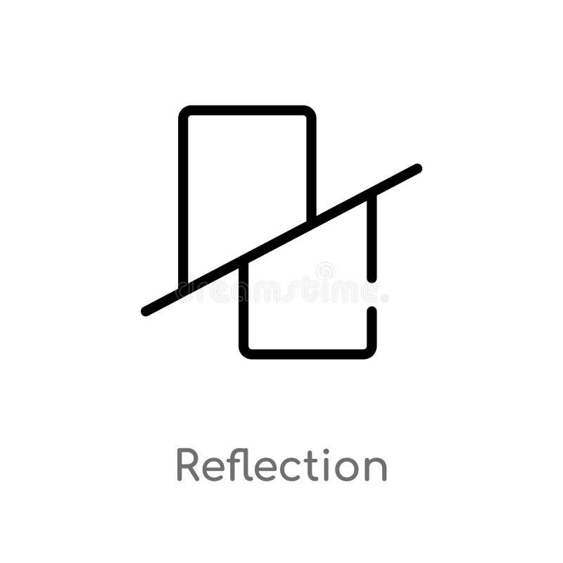 διανυσματικό εικονίδιο αντανάκλασης περιλήψεων απομονωμένη μαύρη απλή απεικόνιση στοιχείων γραμμών από την έννοια γεωμετρίας r διανυσματική απεικόνιση