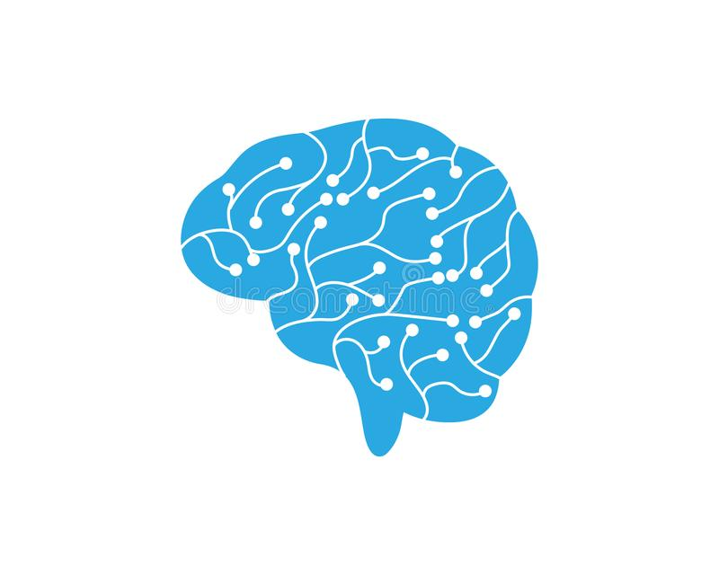 Διανυσματικό εικονίδιο απεικόνισης εγκεφάλου κυκλωμάτων απεικόνιση αποθεμάτων