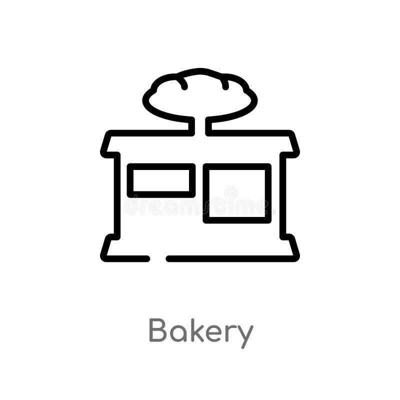διανυσματικό εικονίδιο αρτοποιείων περιλήψεων απομονωμένη μαύρη απλή απεικόνιση στοιχείων γραμμών από την έννοια γρήγορου φαγητού διανυσματική απεικόνιση