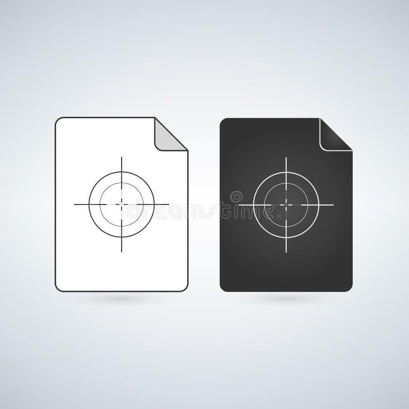 Διανυσματικό εικονίδιο αρχείων εγγράφων με το crosshair ή το στόχο Επίπεδο σημάδι για το κινητό σχέδιο έννοιας και Ιστού Απλό στε απεικόνιση αποθεμάτων