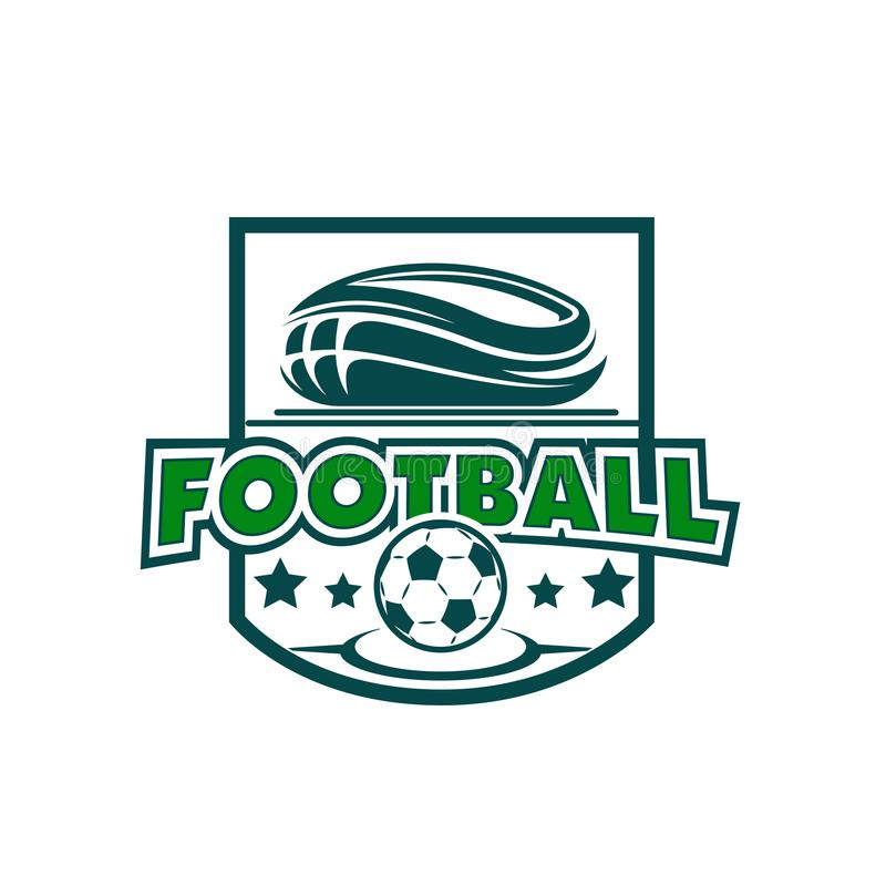 Διανυσματικό εικονίδιο αστεριών γηπέδου ποδοσφαίρου και σφαιρών ποδοσφαίρου διανυσματική απεικόνιση