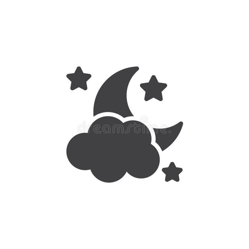 Διανυσματικό εικονίδιο αστεριών φεγγαριών σύννεφων διανυσματική απεικόνιση