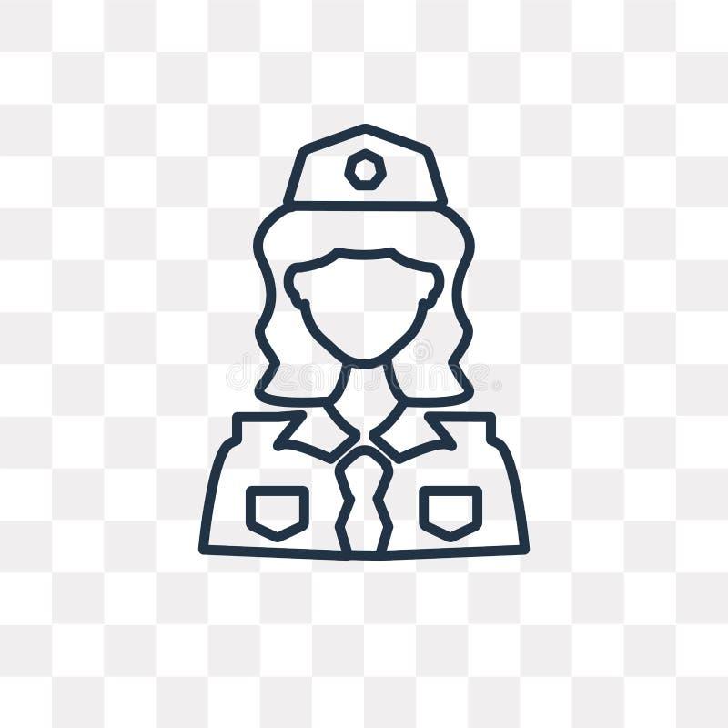Διανυσματικό εικονίδιο αστυνομικινών που απομονώνεται στο διαφανές υπόβαθρο, γραμμή ελεύθερη απεικόνιση δικαιώματος