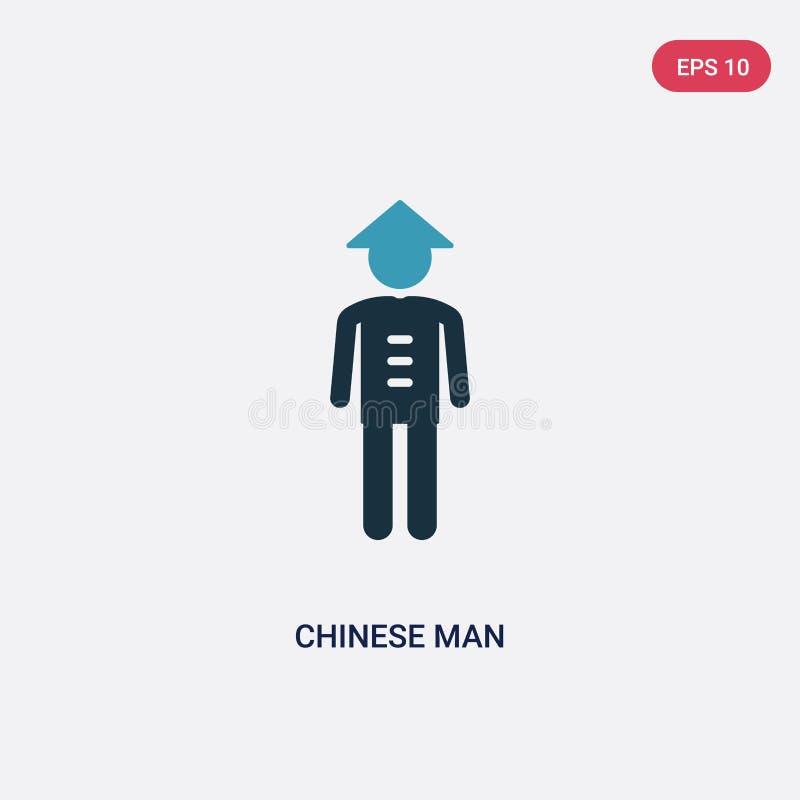 Διανυσματικό εικονίδιο ατόμων δύο χρώματος κινεζικό από την έννοια ανθρώπων το απομονωμένο μπλε κινεζικό σύμβολο σημαδιών ατόμων  απεικόνιση αποθεμάτων