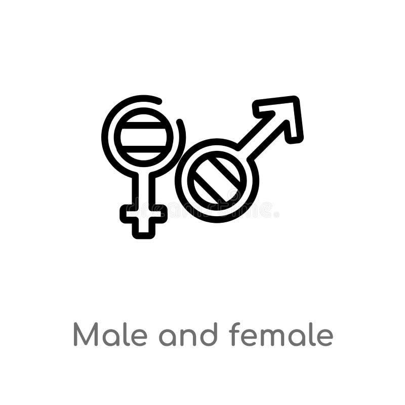 διανυσματικό εικονίδιο γένους περιλήψεων αρσενικό και θηλυκό απομονωμένη μαύρη απλή απεικόνιση στοιχείων γραμμών από την έννοια μ διανυσματική απεικόνιση