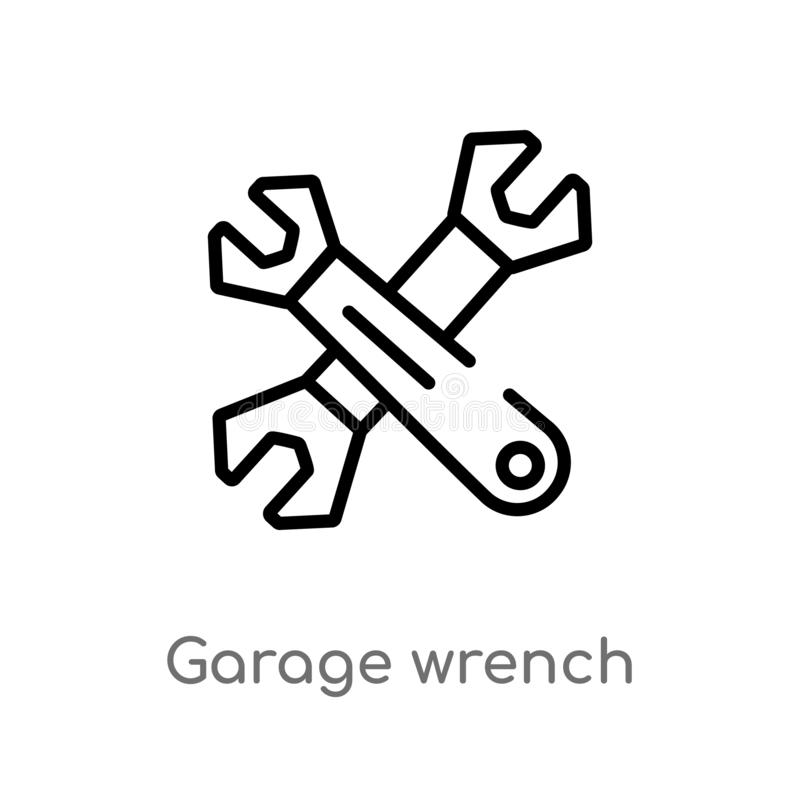 διανυσματικό εικονίδιο γαλλικών κλειδιών γκαράζ περιλήψεων απομονωμένη μαύρη απλή απεικόνιση στοιχείων γραμμών από την έννοια εργ απεικόνιση αποθεμάτων