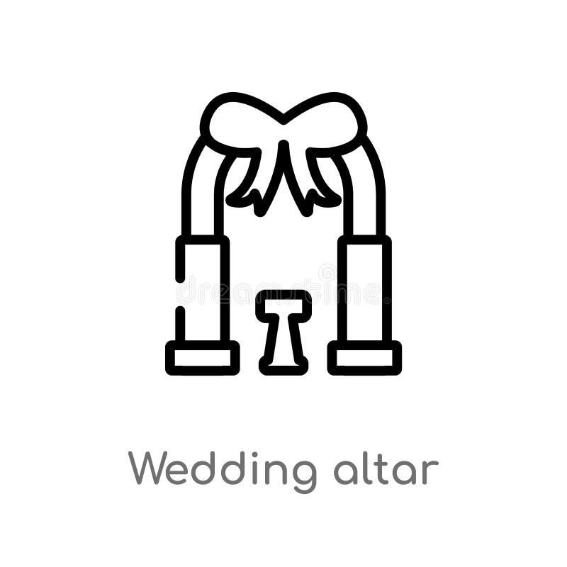 διανυσματικό εικονίδιο γαμήλιων βωμών περιλήψεων απομονωμένη μαύρη απλή απεικόνιση στοιχείων γραμμών από την έννοια γιορτών γενεθ ελεύθερη απεικόνιση δικαιώματος