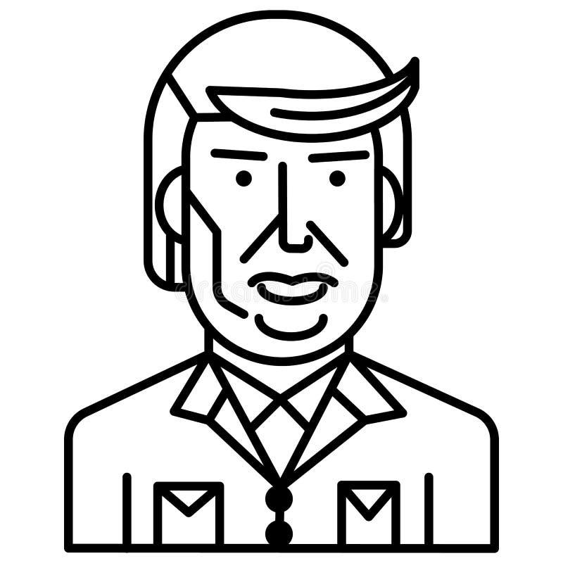 Διανυσματικό εικονίδιο γραμμών ατού του Donald, σημάδι, απεικόνιση στο υπόβαθρο, editable κτυπήματα διανυσματική απεικόνιση