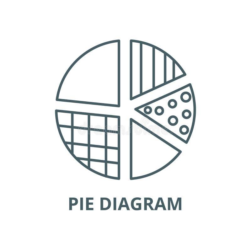 Διανυσματικό εικονίδιο γραμμών διαγραμμάτων πιτών, γραμμική έννοια, σημάδι περιλήψεων, σύμβολο απεικόνιση αποθεμάτων