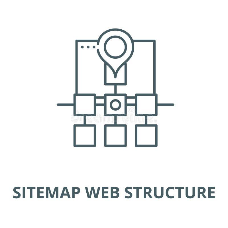Διανυσματικό εικονίδιο γραμμών δομών Ιστού Sitemap, γραμμική έννοια, σημάδι περιλήψεων, σύμβολο ελεύθερη απεικόνιση δικαιώματος