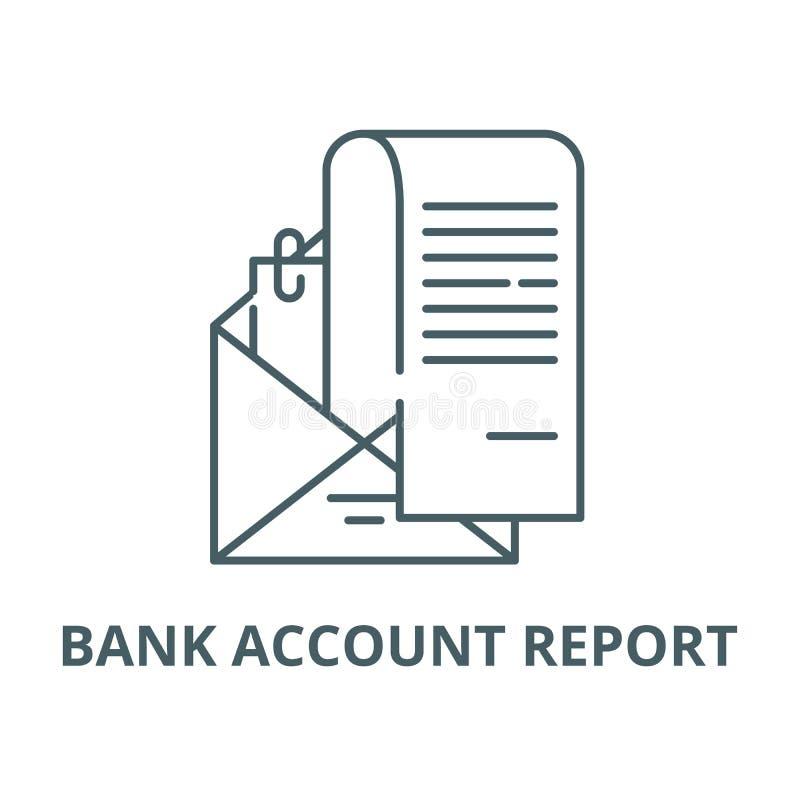 Διανυσματικό εικονίδιο γραμμών εκθέσεων τραπεζικού λογαριασμού, γραμμική έννοια, σημάδι περιλήψεων, σύμβολο απεικόνιση αποθεμάτων