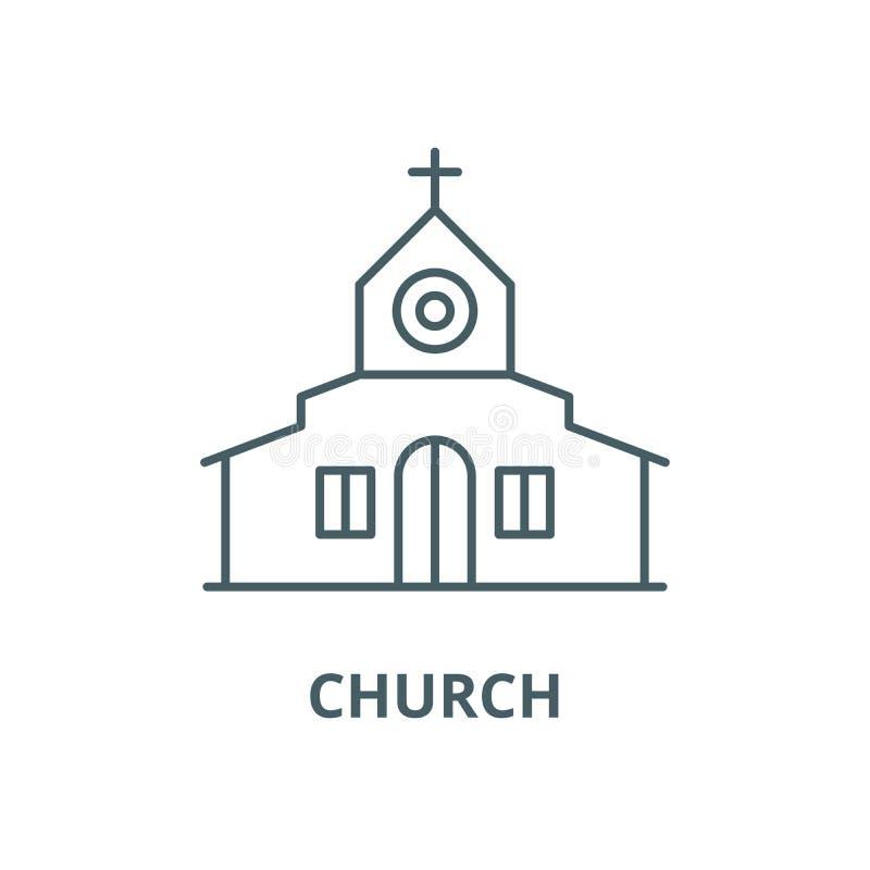 Διανυσματικό εικονίδιο γραμμών εκκλησιών, γραμμική έννοια, σημάδι περιλήψεων, σύμβολο διανυσματική απεικόνιση