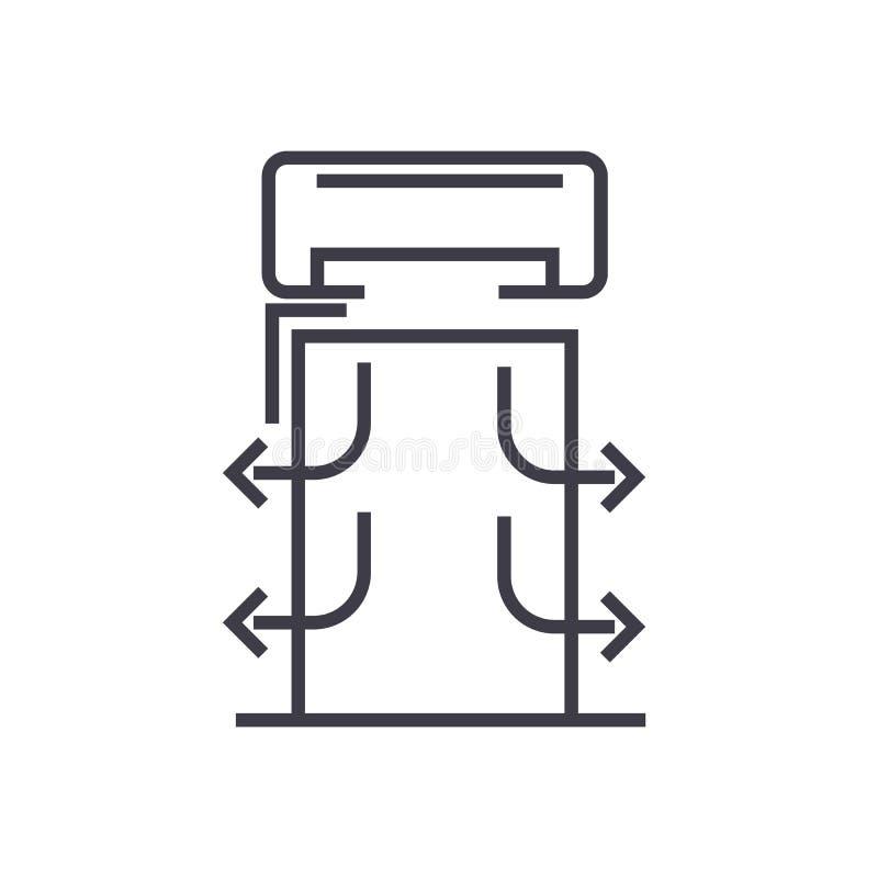 Διανυσματικό εικονίδιο γραμμών κουρτινών θερμότητας, σημάδι, απεικόνιση στο υπόβαθρο, editable κτυπήματα διανυσματική απεικόνιση
