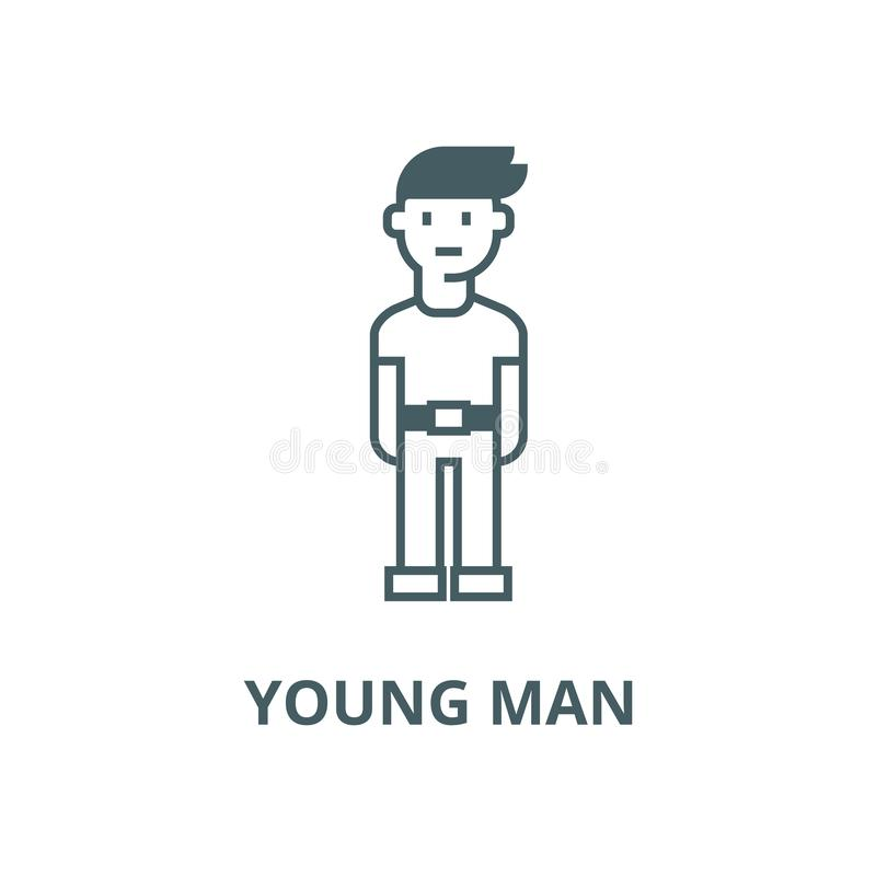 Διανυσματικό εικονίδιο γραμμών νεαρών άνδρων, γραμμική έννοια, σημάδι περιλήψεων, σύμβολο ελεύθερη απεικόνιση δικαιώματος
