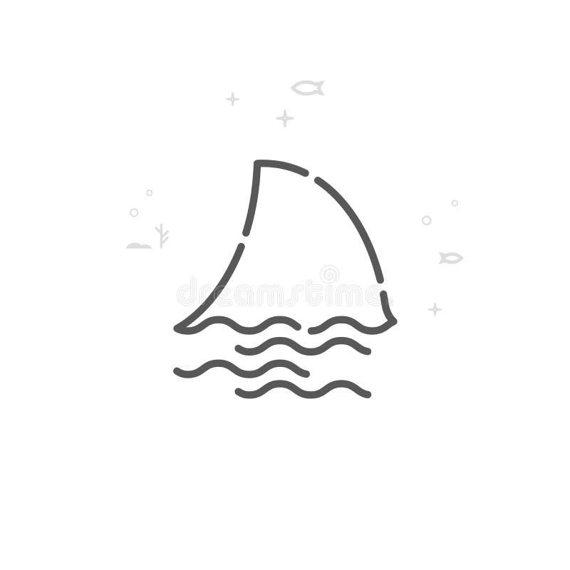 Διανυσματικό εικονίδιο γραμμών πτερυγίων καρχαριών, σύμβολο, εικονόγραμμα, σημάδι r o ελεύθερη απεικόνιση δικαιώματος