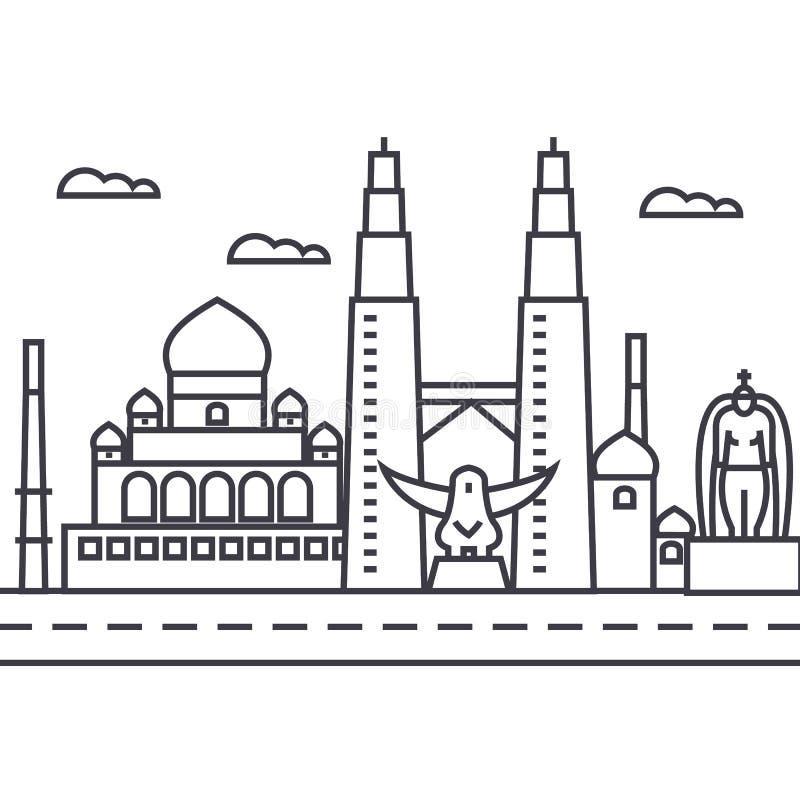 Διανυσματικό εικονίδιο γραμμών της Μαλαισίας, Κουάλα Λουμπούρ, σημάδι, απεικόνιση στο υπόβαθρο, editable κτυπήματα διανυσματική απεικόνιση