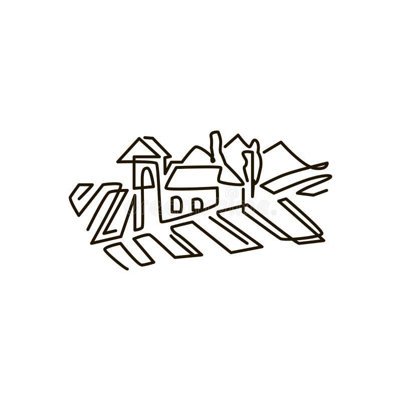 Διανυσματικό εικονίδιο γραμμών Τοπίο αμπελώνων Ένα σχέδιο γραμμών η ανασκόπηση απομόνωσε το λευκό απεικόνιση αποθεμάτων