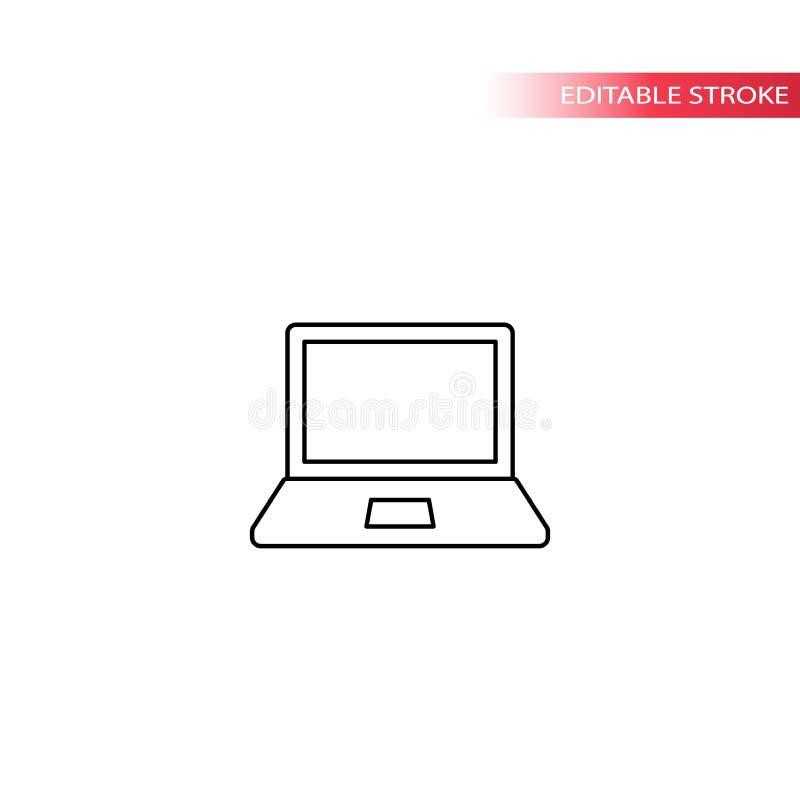 Διανυσματικό εικονίδιο γραμμών φορητών προσωπικών υπολογιστών λεπτό διανυσματική απεικόνιση