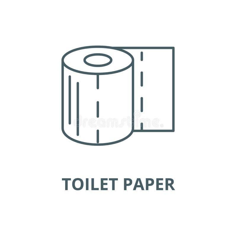 Διανυσματικό εικονίδιο γραμμών χαρτιού τουαλέτας, γραμμική έννοια, σημάδι περιλήψεων, σύμβολο ελεύθερη απεικόνιση δικαιώματος