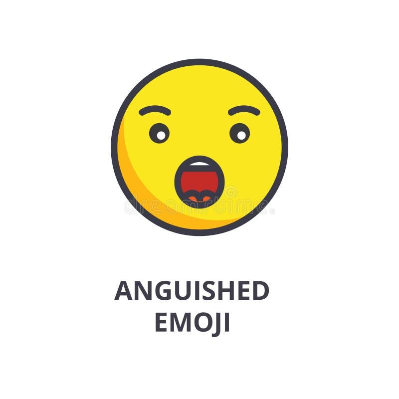 Διανυσματικό εικονίδιο γραμμών emoji Anguished, σημάδι, απεικόνιση στο υπόβαθρο, editable κτυπήματα απεικόνιση αποθεμάτων